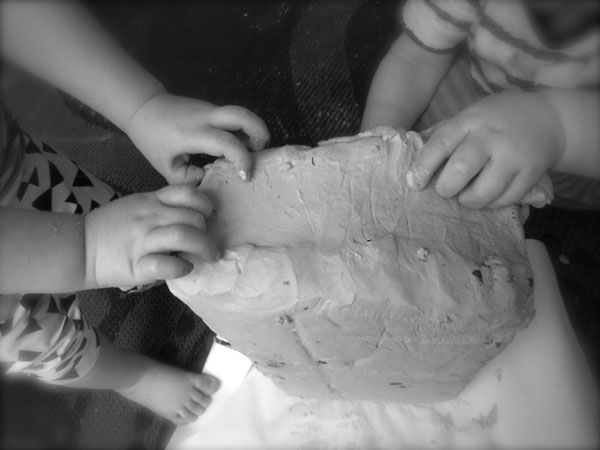 playing with clay