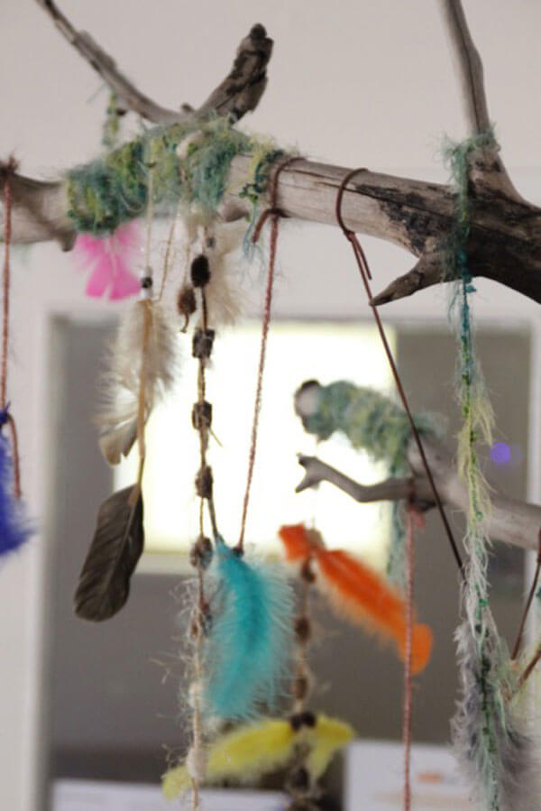 Infant area at Rainbow Valley craft with feathers